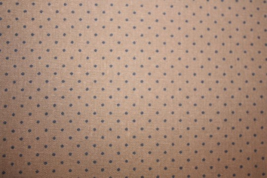 Tissu : petits poix bleus sur fond taupe