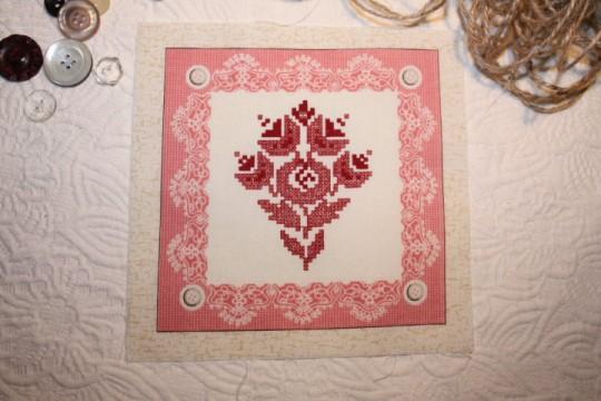 Image rétro sur tissu (thème: broderie)