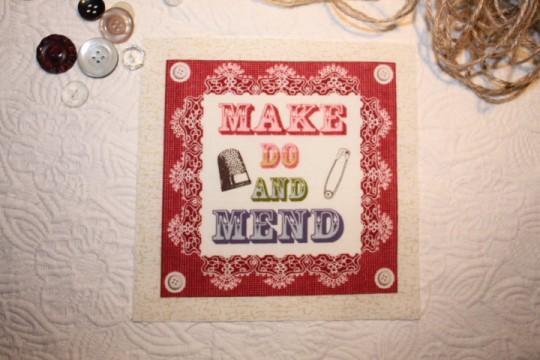 Image rétro sur tissu (thème: couture)