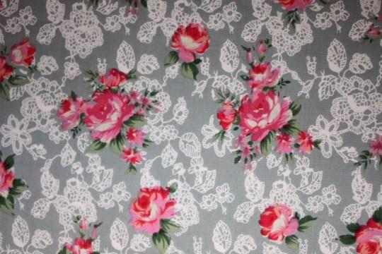 Tissu : bouquets sur fond gris